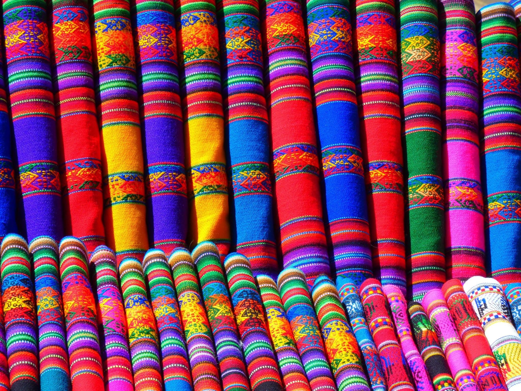 色とりどりの織物