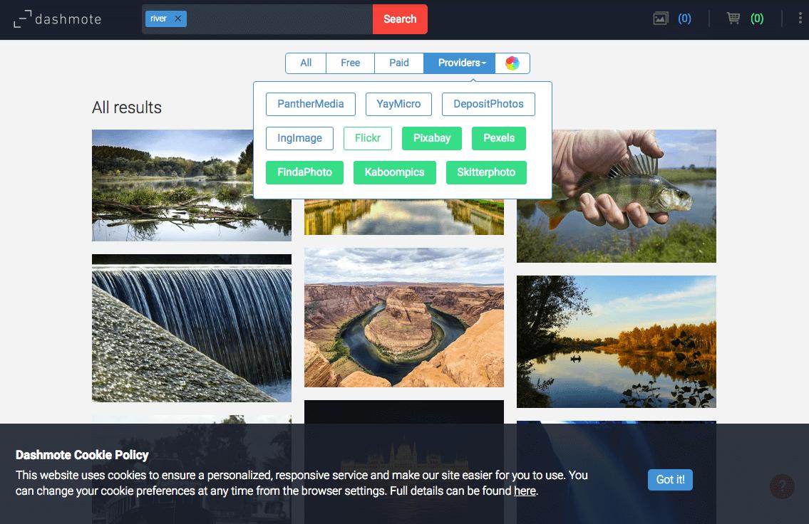 Dashmote 無料でFlickr以外の写真絞り込み
