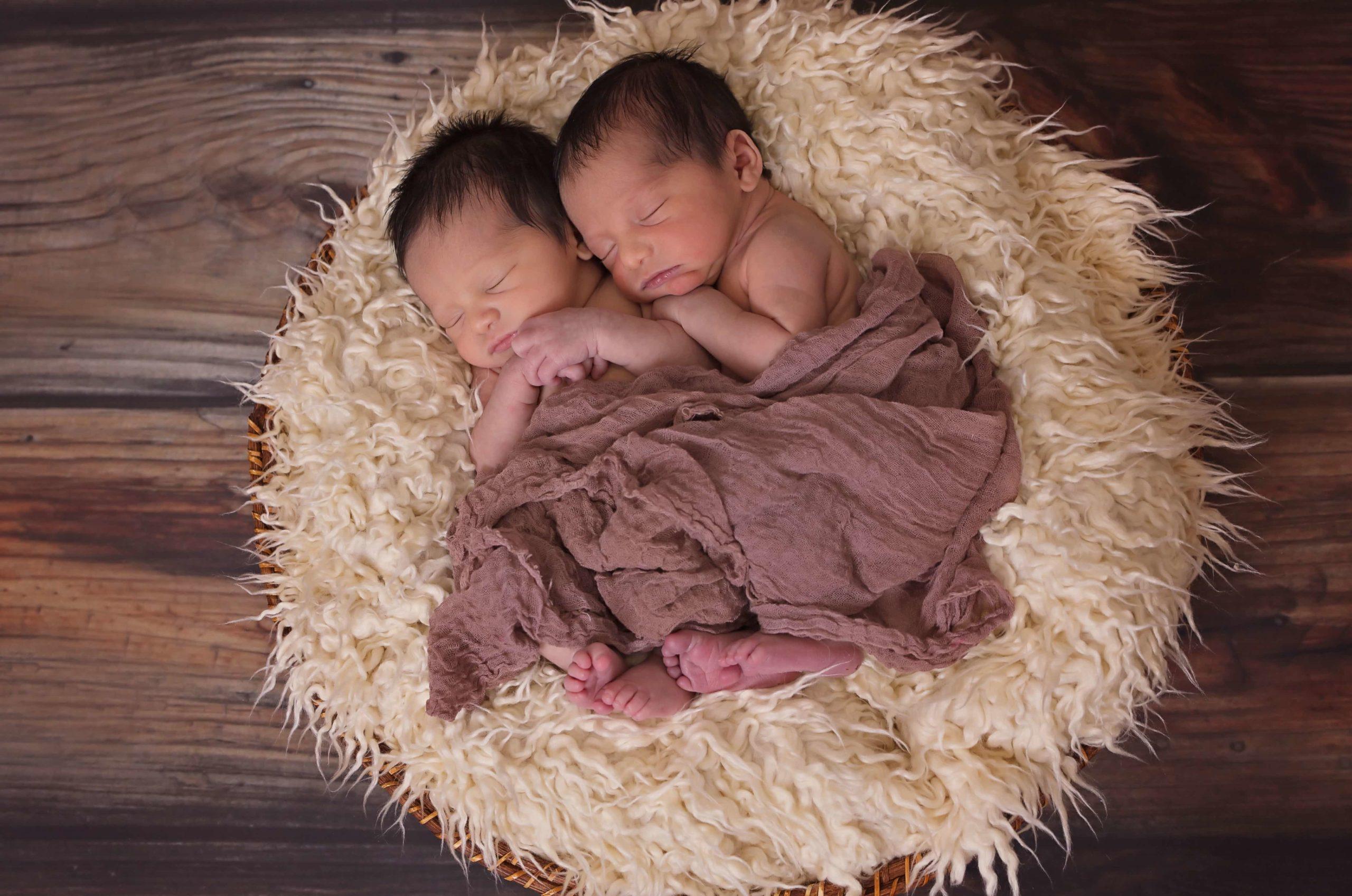 かごに敷かれた毛布のうえで眠る双子の赤ちゃん