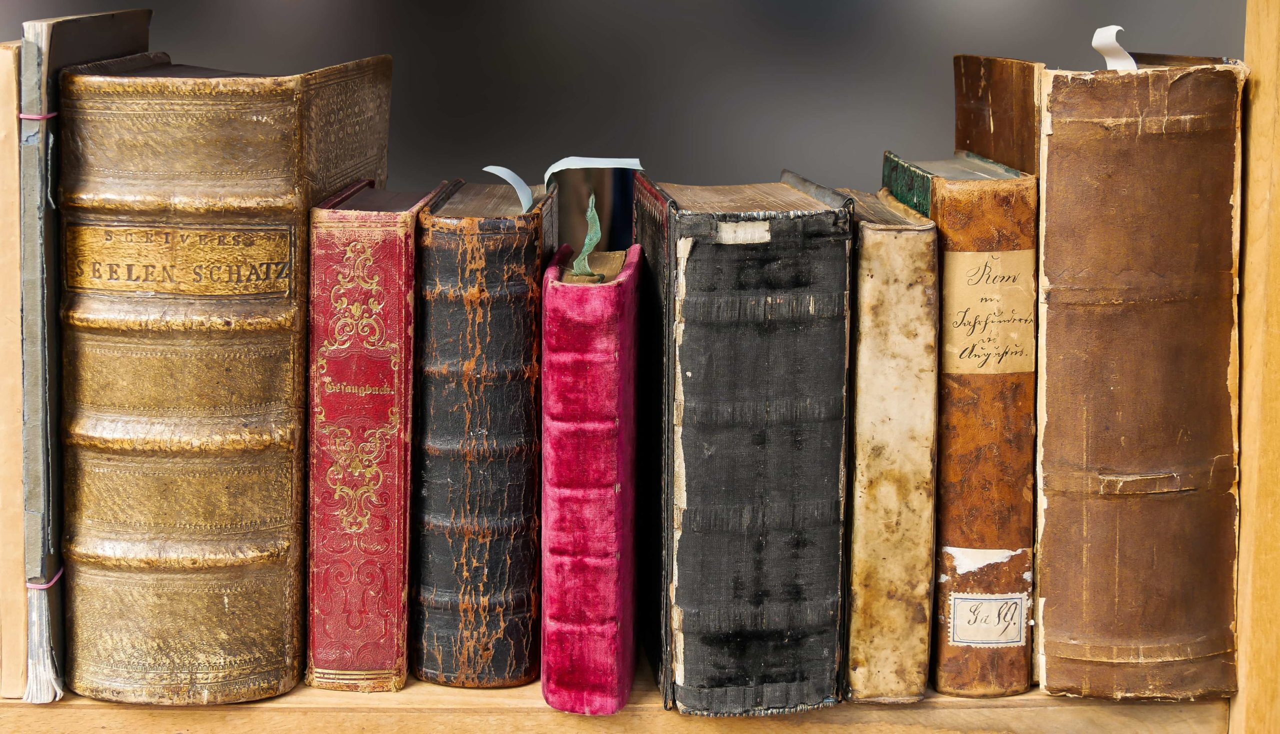棚に置かれた古くて分厚い本
