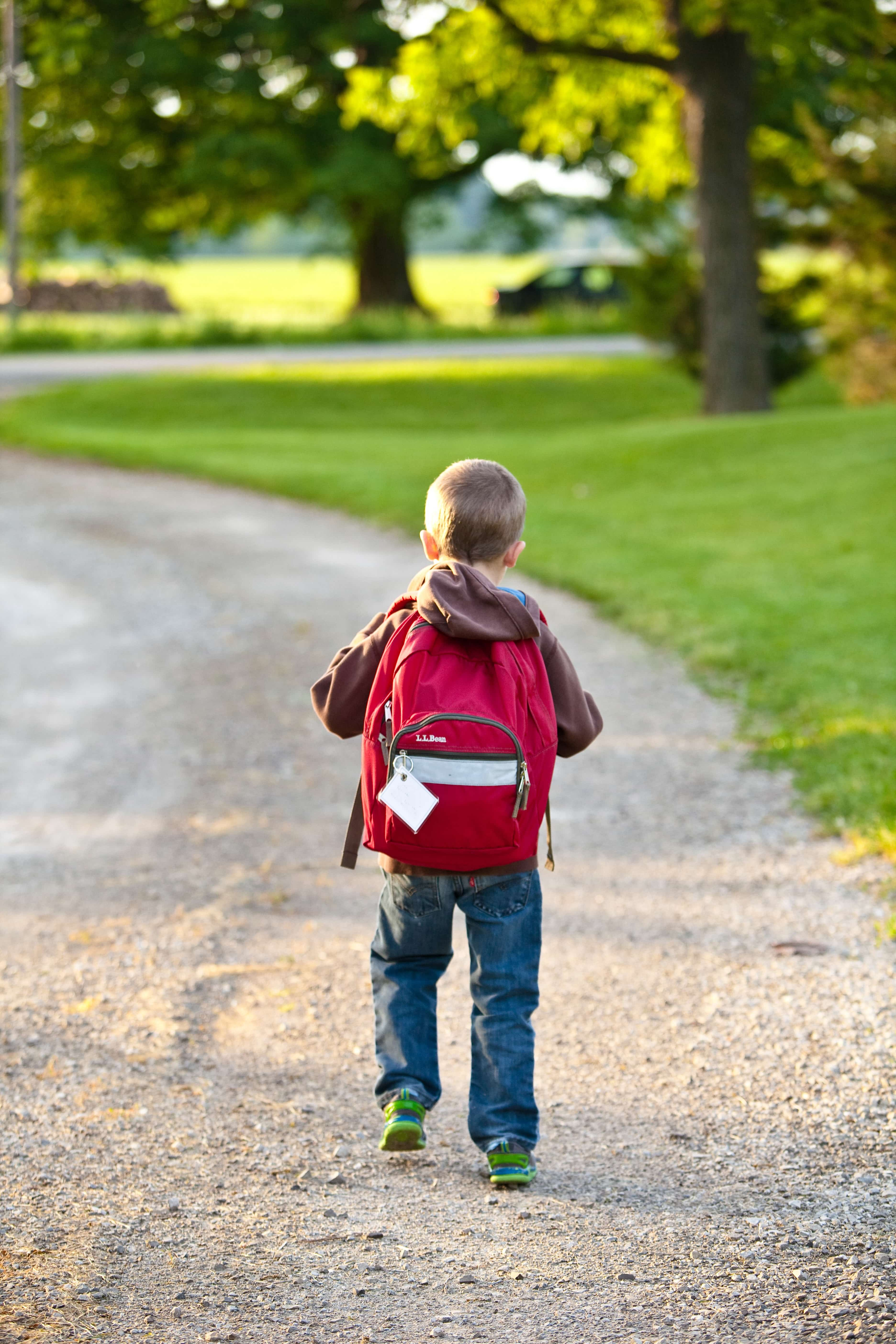 学校に向かう男の子
