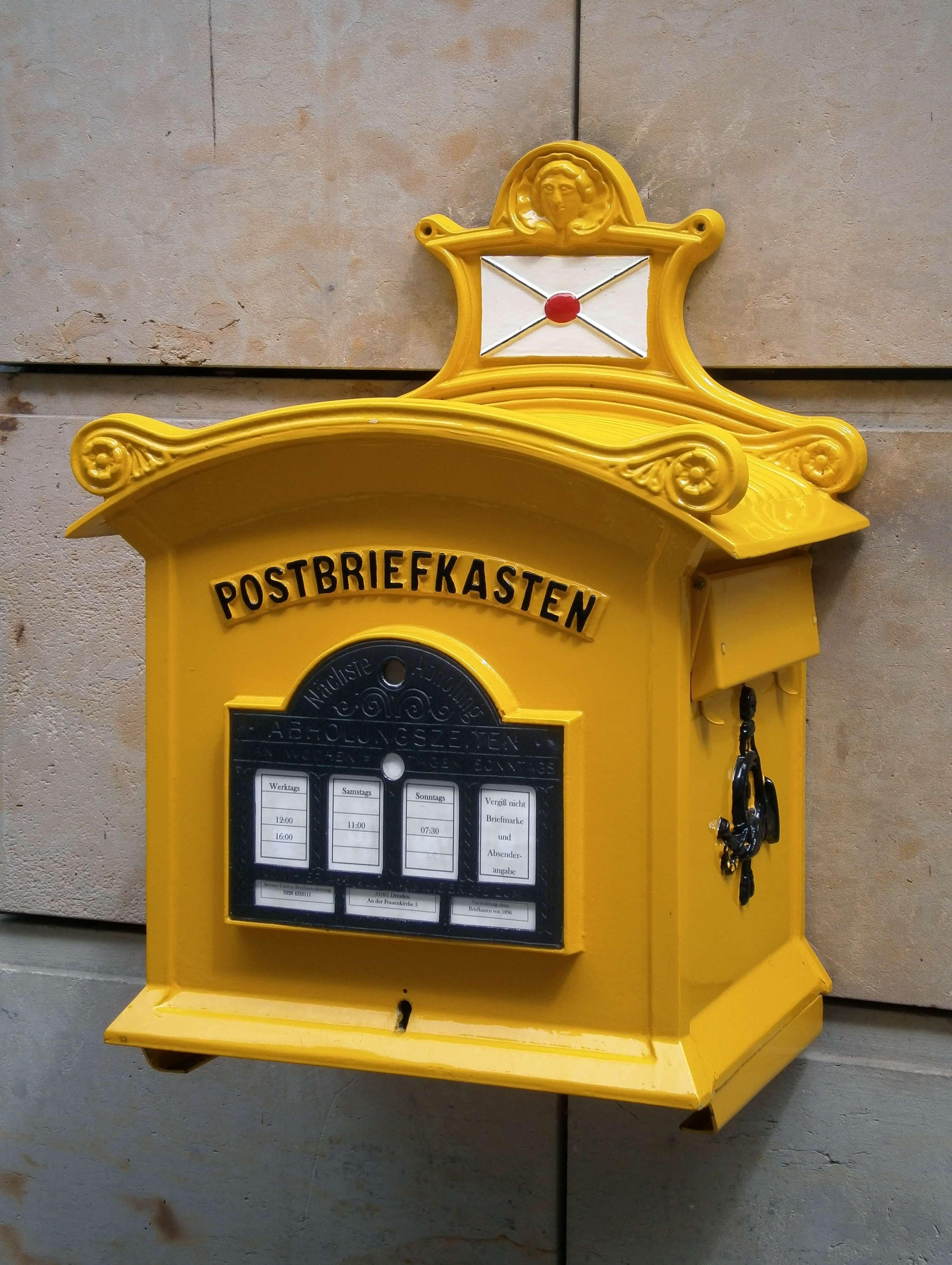 ドイツの黄色い郵便受け