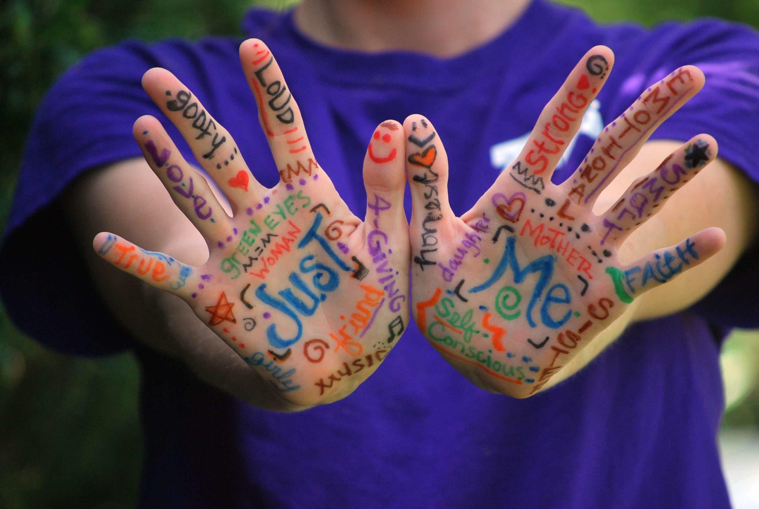 色とりどりの言葉で彩られた手