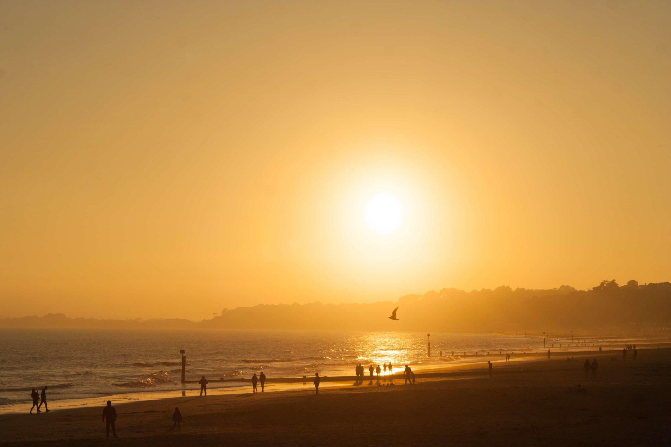 海に煌々と浮かぶ太陽