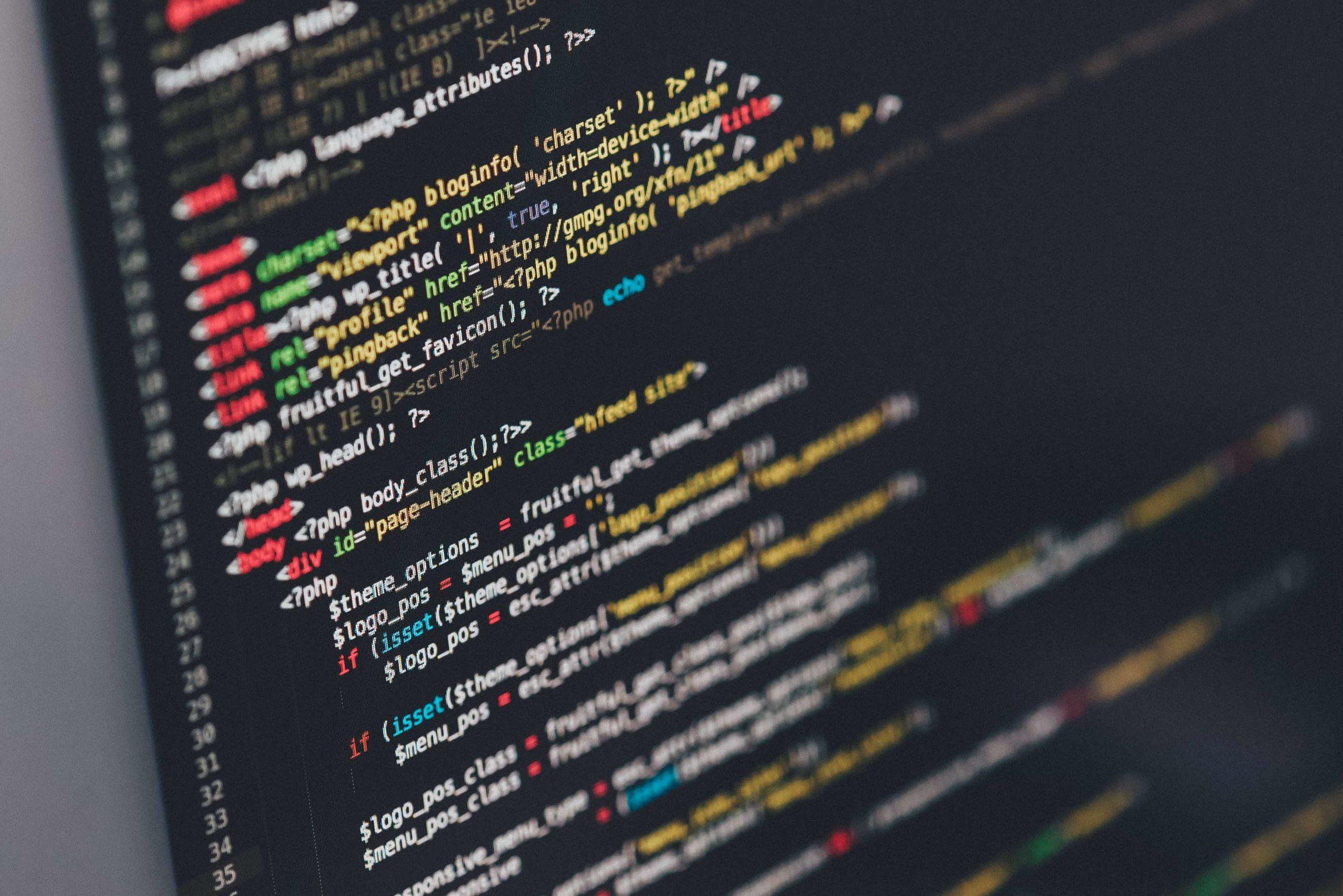 色分けされたプログラムコード