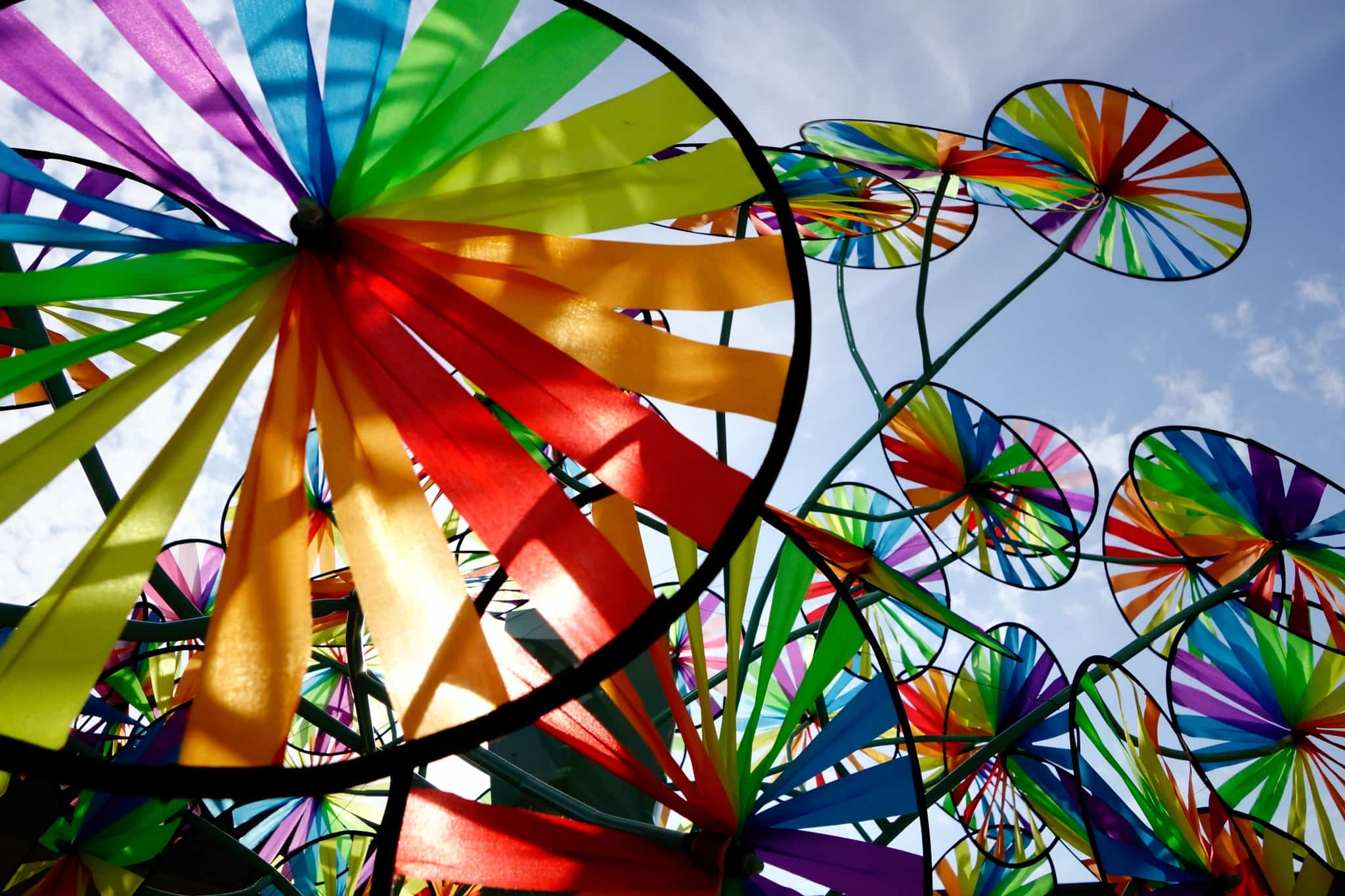 色とりどりの風車