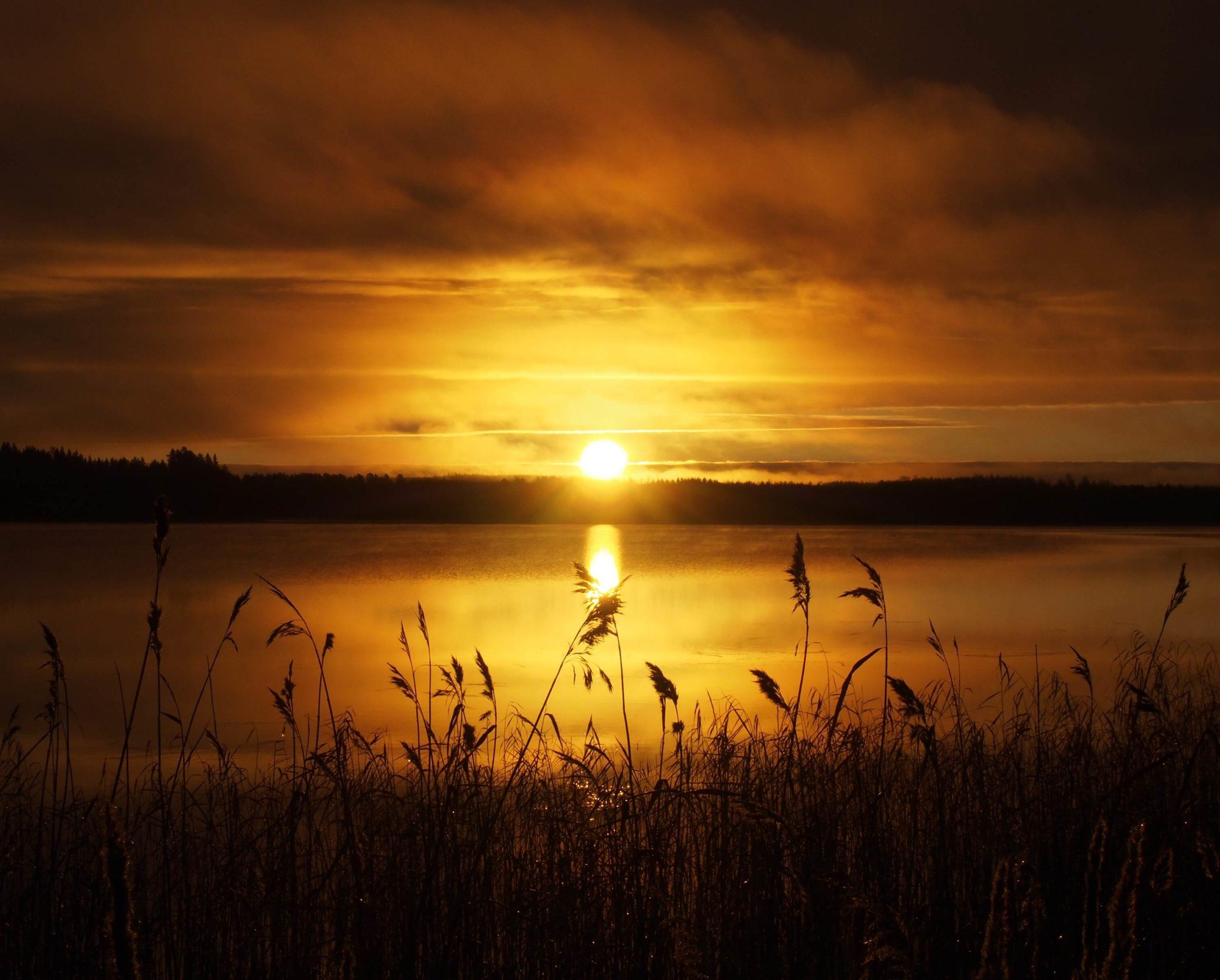 湖に昇る朝日