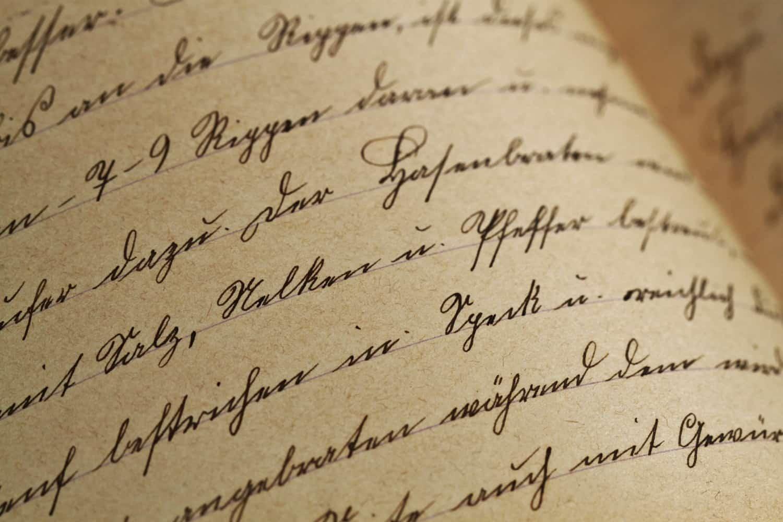 筆記体で書かれた手紙