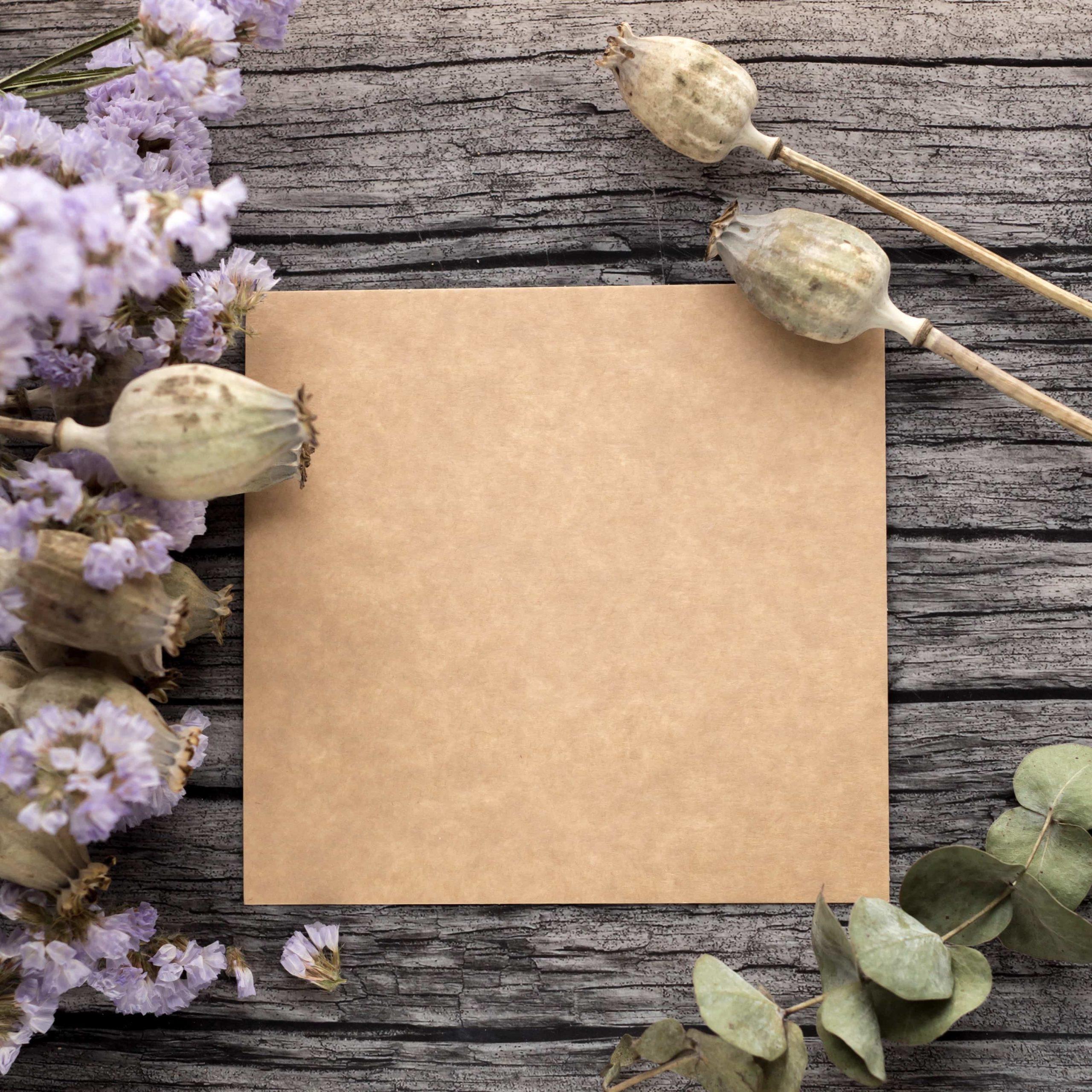 茶色のテンプレートと花