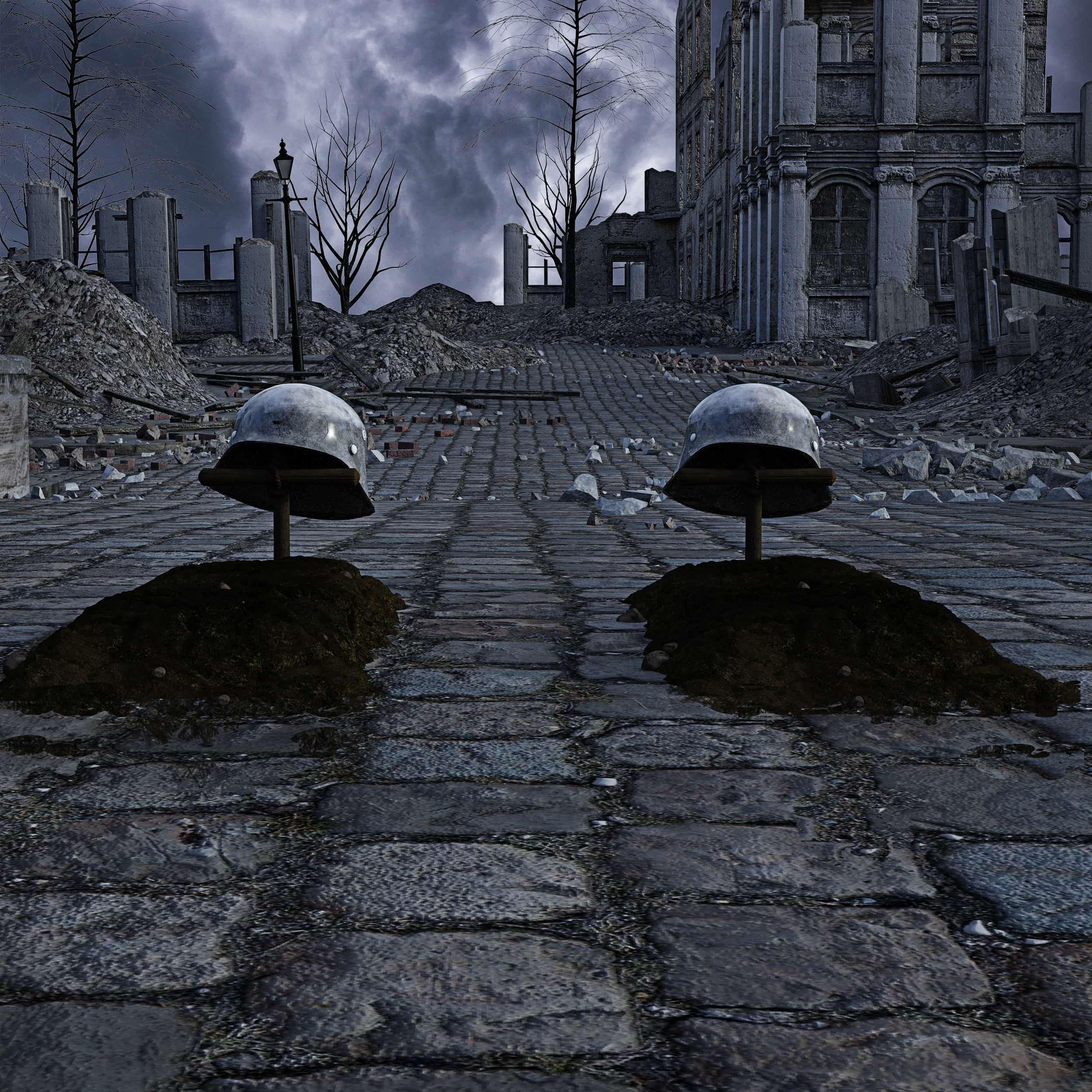 戦地に置かれた2つのヘルメット